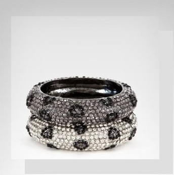 bebe Crystal Animal Print Bangle Set